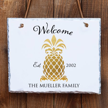 Pineapple Decor - Personalized White Wall Slate - Pineapple Welcome