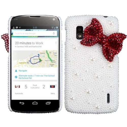 Insten Red Bow Pearl 3D Diamante Back Case (with Package) for LG: E960 (Nexus 4)