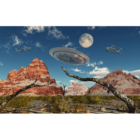 A Pair Of Ah 64 Apache Black Ops Helicopters Chasing A Flying Saucer Poster Print
