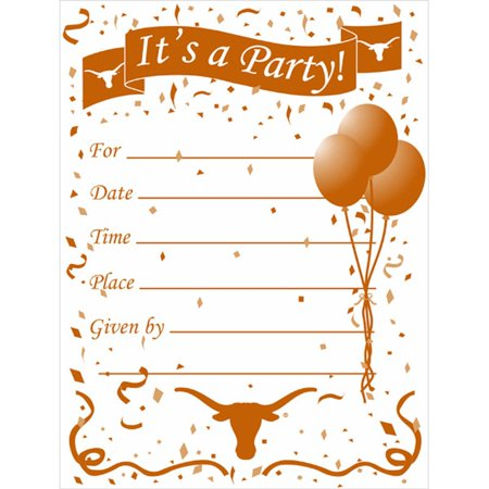 Texas Longhorns Party Invitations and Envelopes