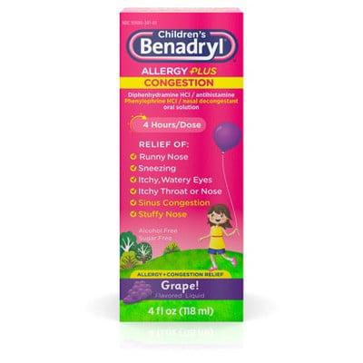 Children's Benadryl Allergy Plus Congestion Grape Liquid - 4oz