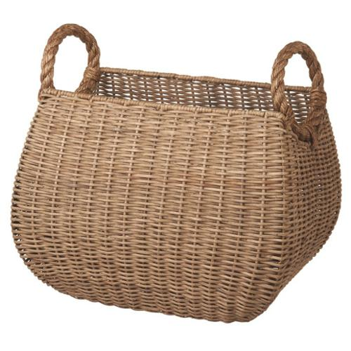 "18"" Light Brown Woven Rattan Storage Basket with Round Rope Handles"