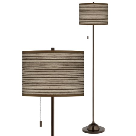 Cedar Zebrawood Giclee Glow Bronze Club Floor Lamp Petite Club Floor Lamp