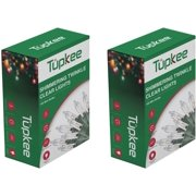 Tupkee Twinkle Shimmering Lights - Indoor Outdoor  20.5 Feet Light String, 100 Clear Bulbs - Christmas Tree Holiday Decor - 2 Pack (Total 200 Lights)