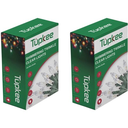 Tupkee Twinkle Shimmering Lights - Indoor Outdoor – 20.5 Feet Light String, 100 Clear Bulbs - Christmas Tree Holiday Decor - 2 Pack (Total 200 Lights) ()