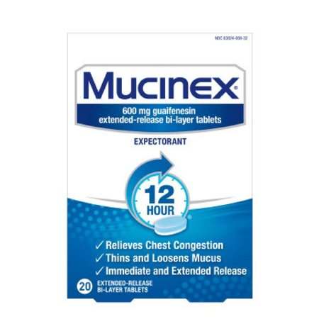 Mucinex 12-Hour Chest Congestion Expectorant Tablets, 20
