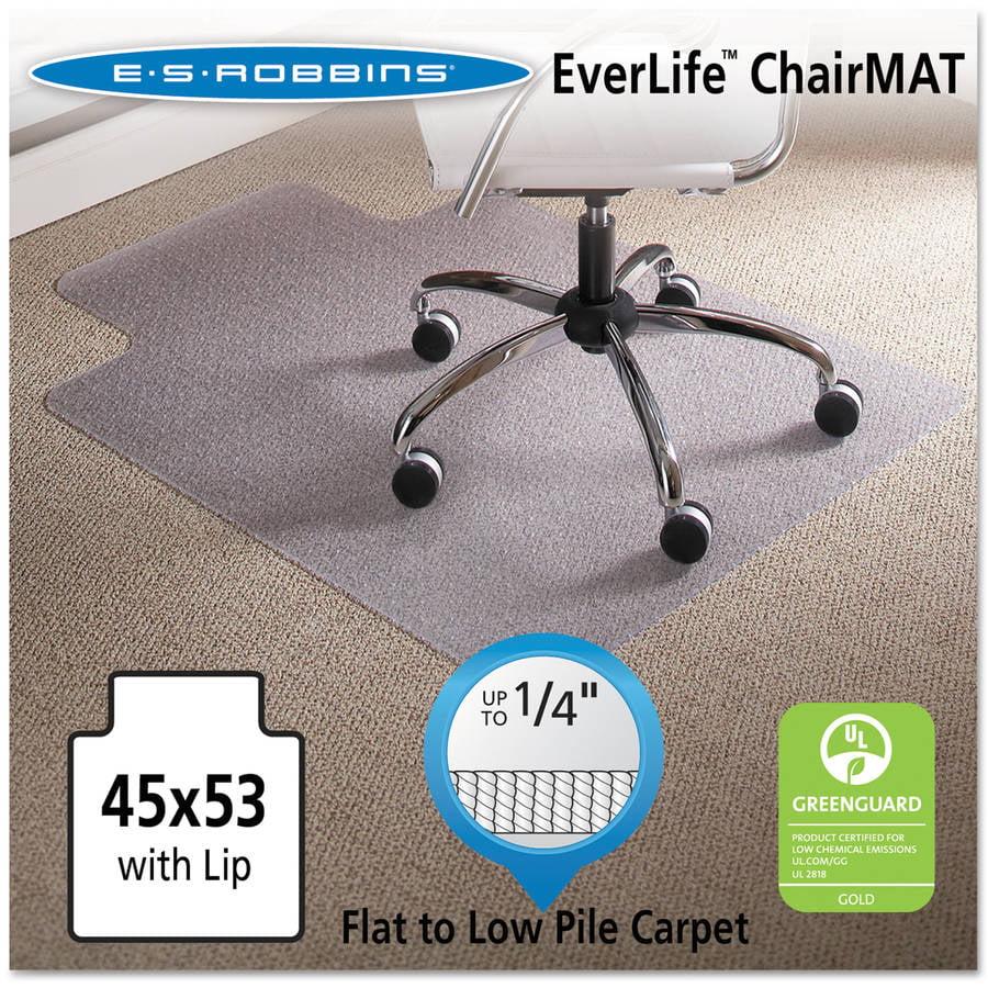 "ES Robbins 45"" x 53"" Lip Chair Mat, Task Series AnchorBar for Carpet up to 1/4"""