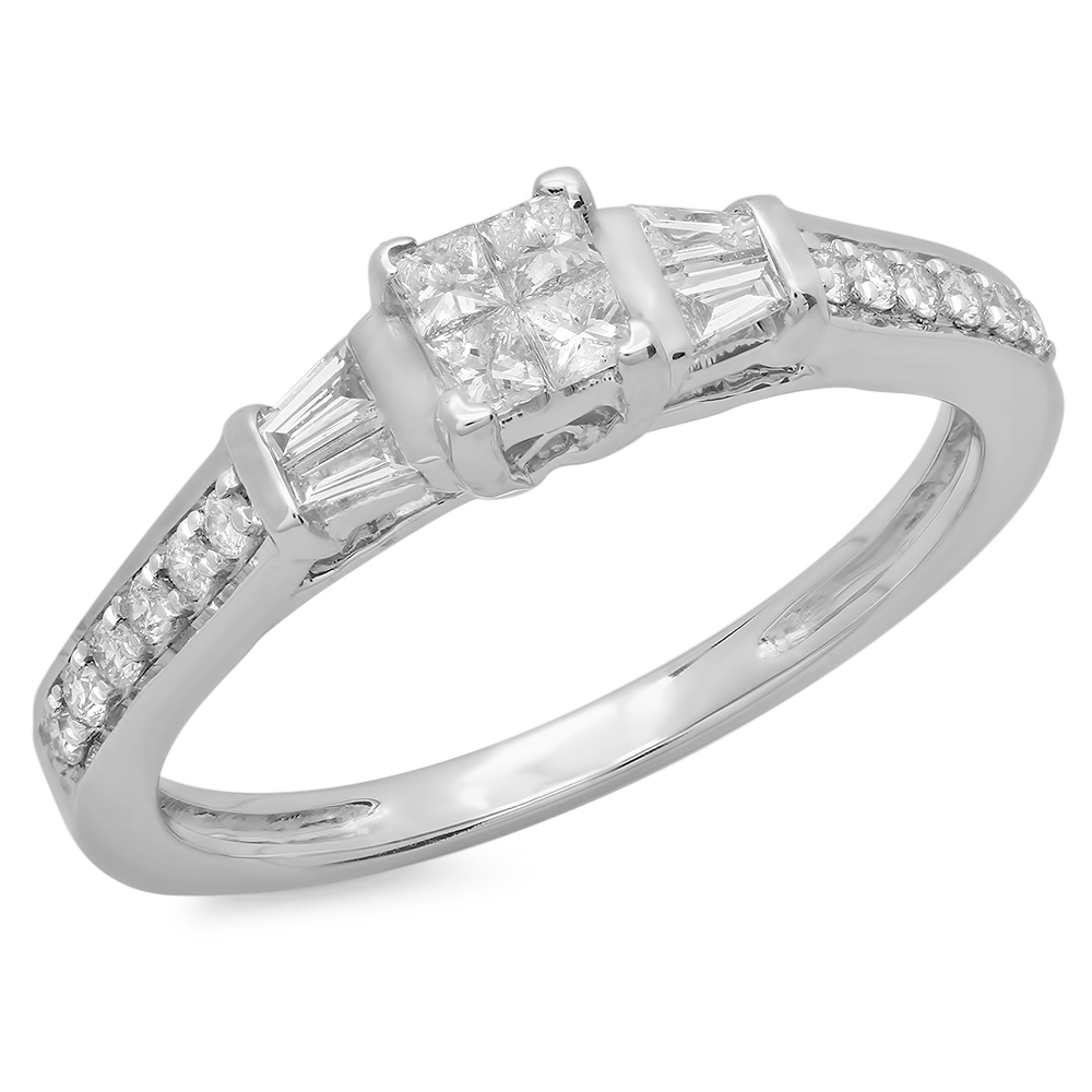 Dazzling Rock 0.50 Carat (ctw) 10K White Gold Princess Ba...