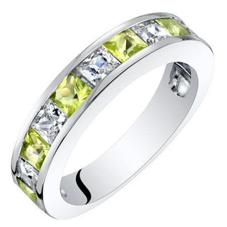 Sterling Silver Princess Cut Peridot Half Eternity Wedding Ring Band