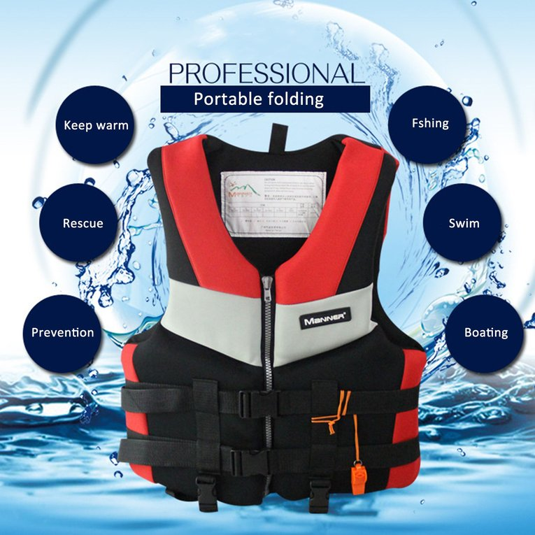 Red Adults Life Jacket Universal Swimming Boating Skiing Drifting Foam Vest Fishing Vest by YKS