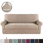 H.VERSAILTEX Jacquard Textured 2-Piece Sofa Slipcover with Foam Inserts (Sofa, Sand)