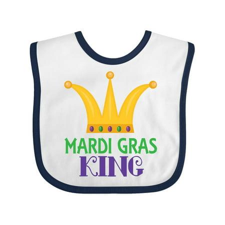 Mardi Gras King Celebration Party Baby Bib White/Navy One Size