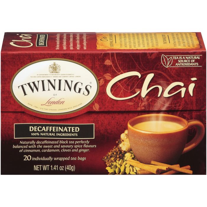 Twinings of London Chai Decaffeinated  Tea Bags 20 Ct  (Pack of 6)