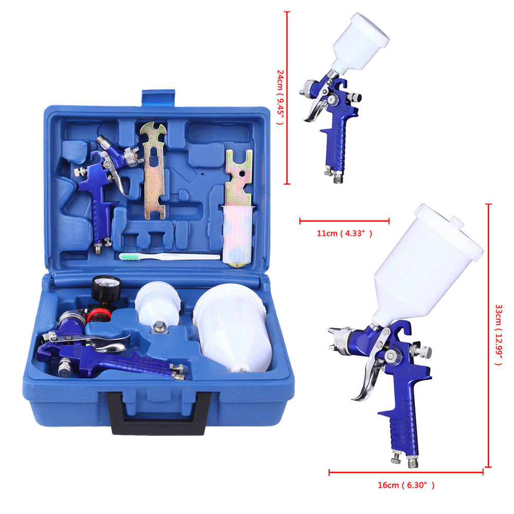 Zimtown HVLP Paint Spray Gun Kit, Auto Gravity Feed Guns, 0.8mm & 1.4mm Paint Nozzle, for Spraying Primers / Sealers