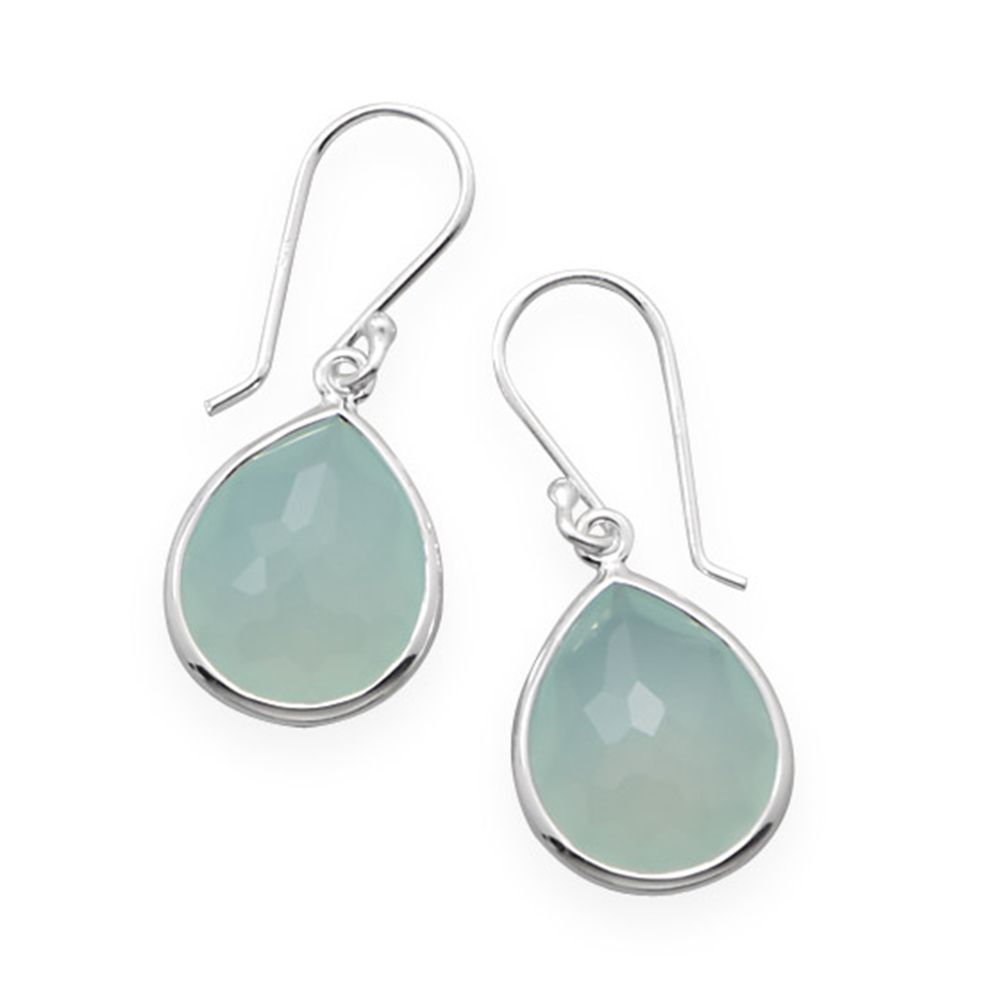Green Chalcedony Teardrop Earrings Rhodium on Sterling Nontarnish Freeform Facets by unknown