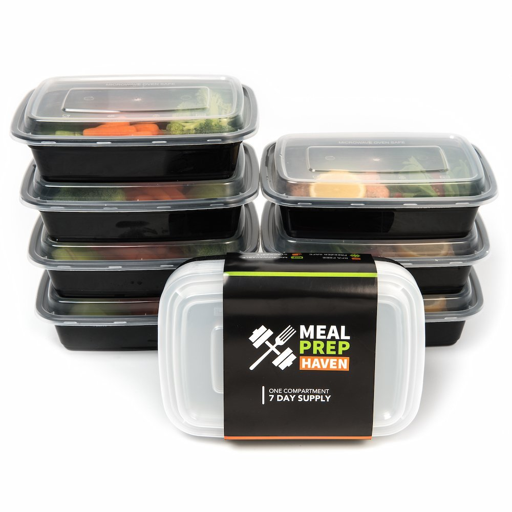 Meal Prep Haven 7 Pack 1 Compartment Food Storage Containers With Lids 17 Oz Reusable Microwave And Dishwasher Safe Bento Lunch Box Stackable