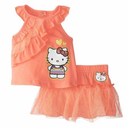 Hello Kitty Infant Girls Peachy Orange Sleeveless Shirt Skirt 2 PC Outfit (Hello Kitty Birthday Outfit)