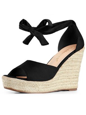99aa89e17ff0 Product Image Women s Espadrilles Tie Up Ankle Strap Wedges Sandals Black  (Size ...