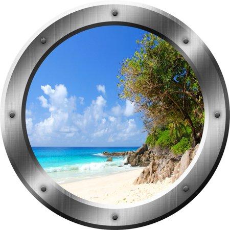VWAQ Tropical Island Wall Decal Tropical Beach Wall Sticker Porthole Decor VWAQ-SP35 (24