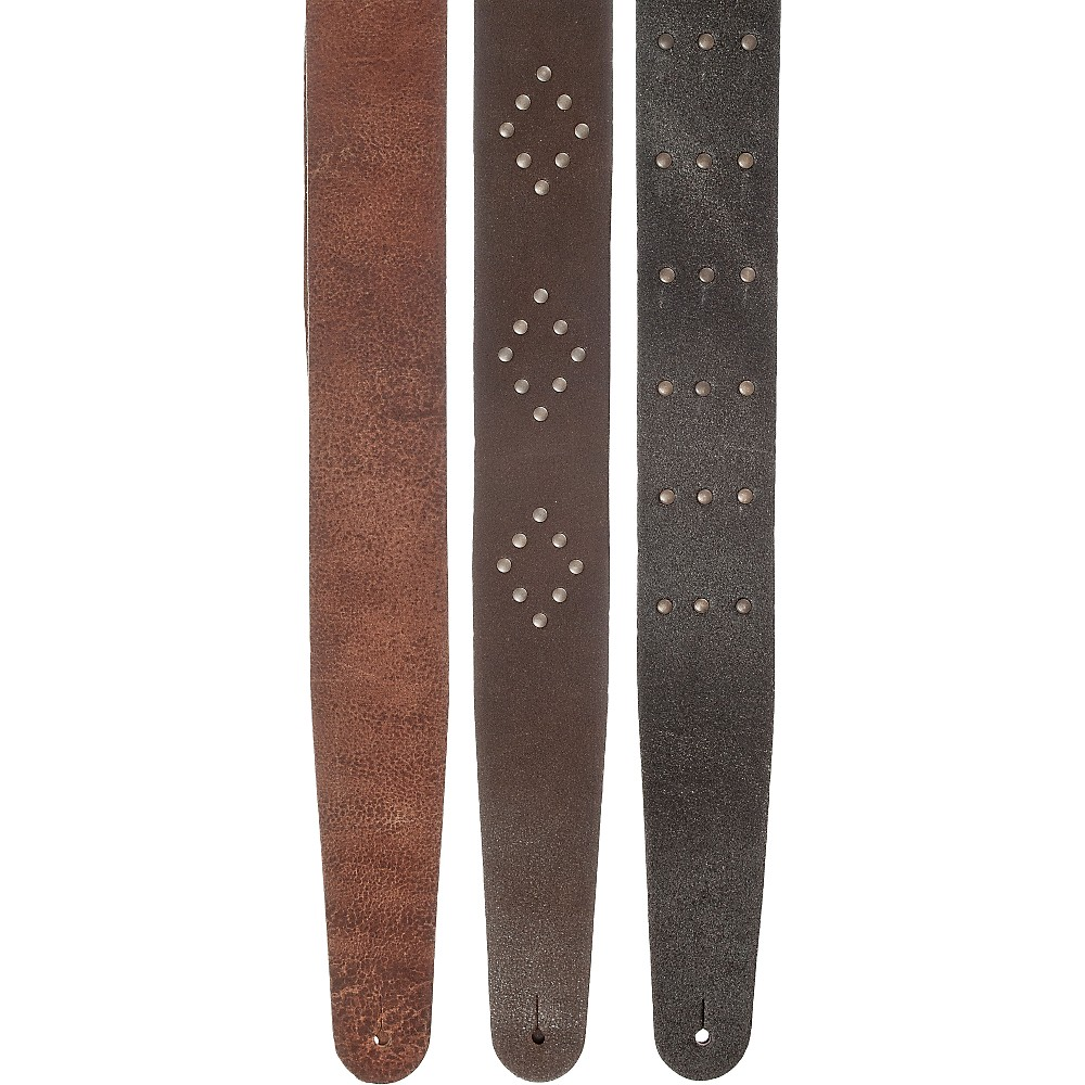 D'Addario Planet Waves Blasted Leather Guitar Strap Black Riveted Rows by D'Addario Planet Waves