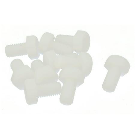 10 Pcs Hex Head Cap Nylon Plastic Hexagonal Screw Thread Right Hand M8 x 15mm