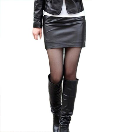 - Women Sexy Black PU Leather Pencil Bodycon High Waist Mini Dress Short Skirt