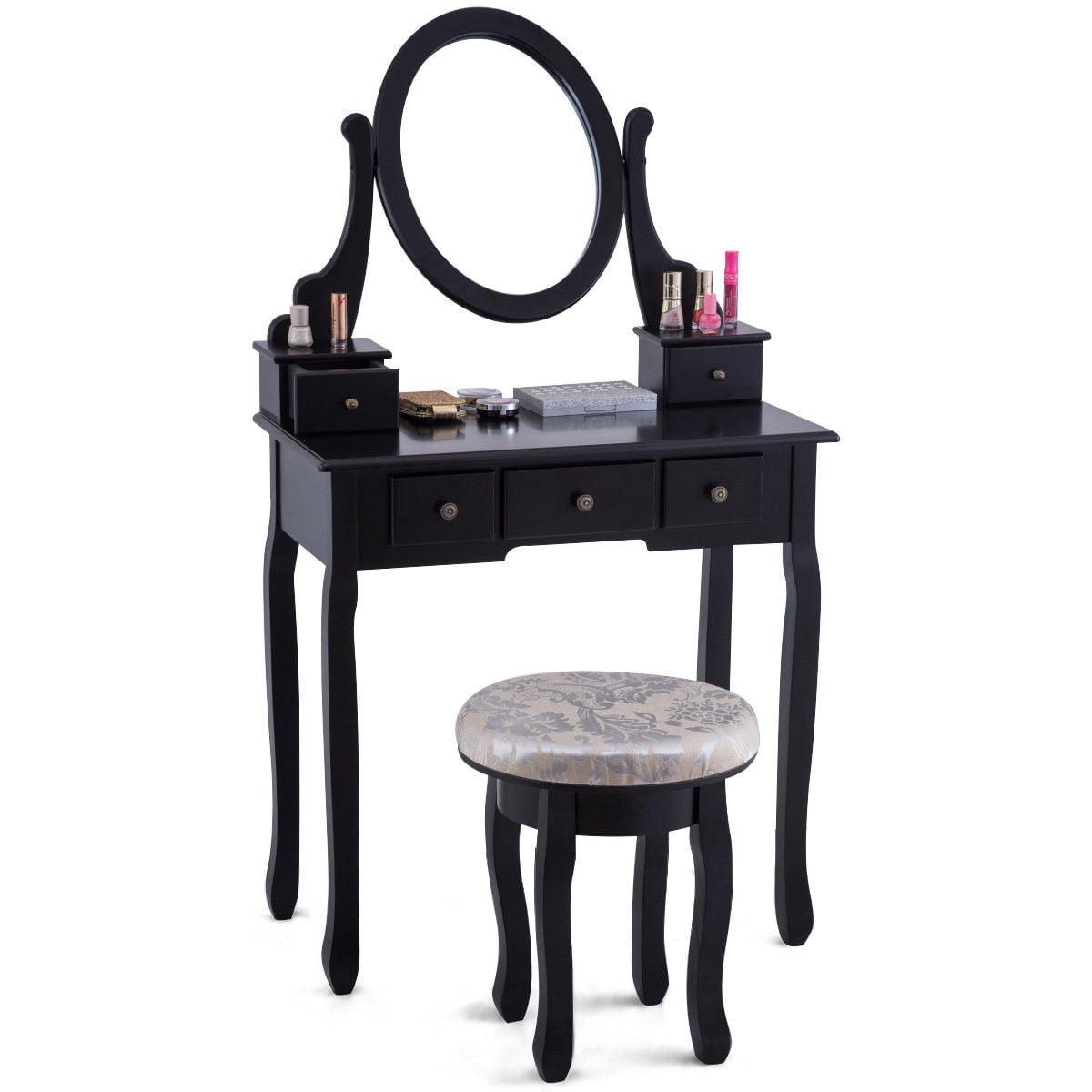 Costway Vanity Table Set Makeup Table Cushioned Stool Mirror 5 Drawers Black