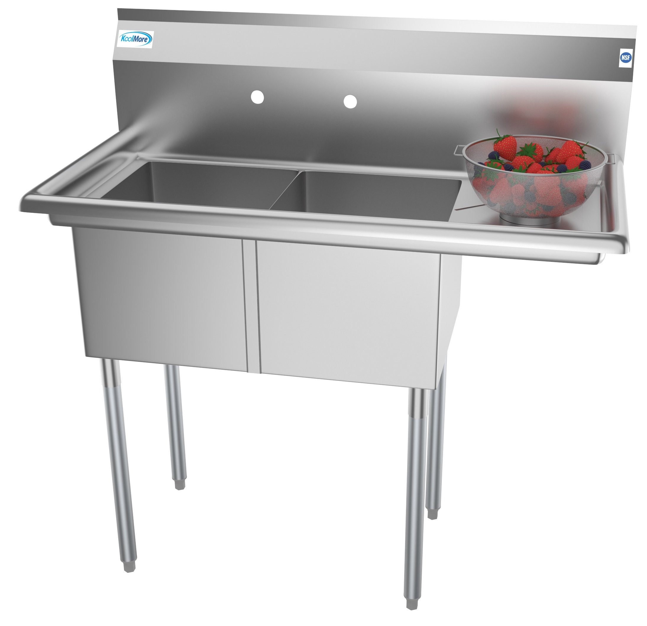 """2 Compartment 43"""" Stainless Steel Commercial Kitchen Prep & Utility Sink with Drainboard - Bowl Size 14"""" x 16"""" x 11"""""""