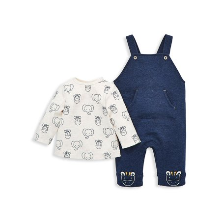Baby Boy's Cotton Printed Top & French Terry Overall Set