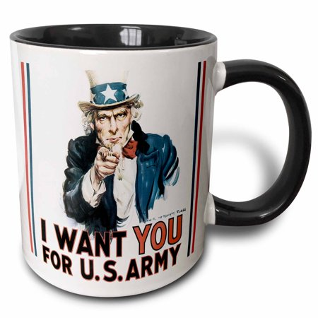 Vintage Uncle Sam - 3dRose Vintage Uncle Sam I want you for the Army - Two Tone Black Mug, 11-ounce