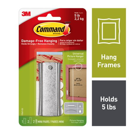 Sawtooth Pockets - Command Sticky Nail Sawtooth Hanger, White, 1 Hanger, 2 Large strips, 2 Sets of Mini Strips/Pack
