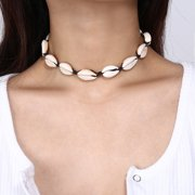 Women Shell Choker Necklace Rope Chain Choker Boho Style Jewelry black