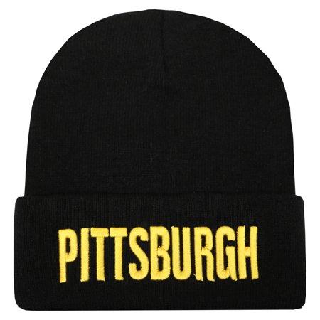 City Hunter Sk901 Pittsburgh Bold Sports Team Cuffed Skull Beanie Hat