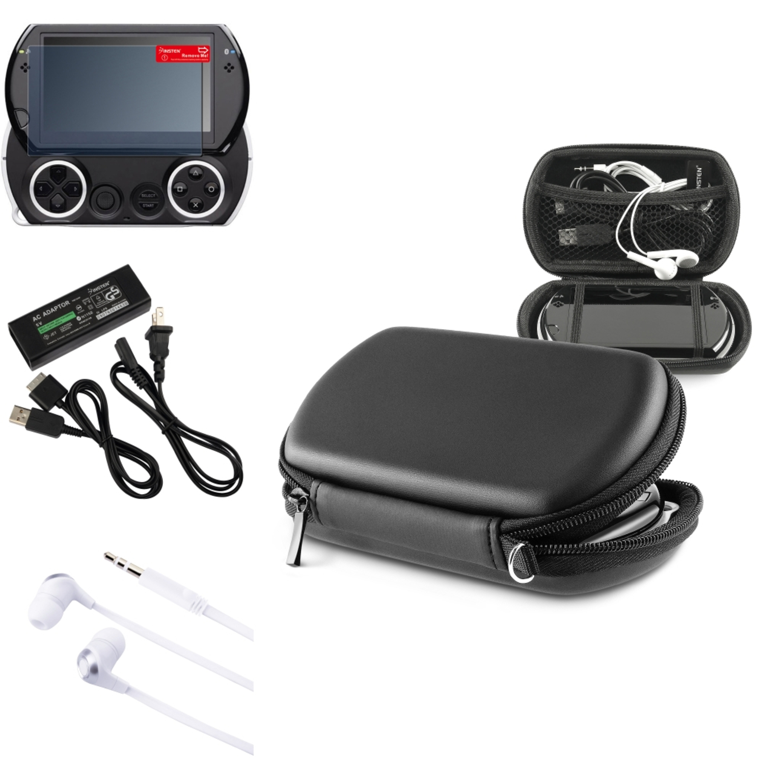 Insten For PSP Go - Travel AC Charger + Black EVA Case Cover + Screen Protector + 3.5mm Headset