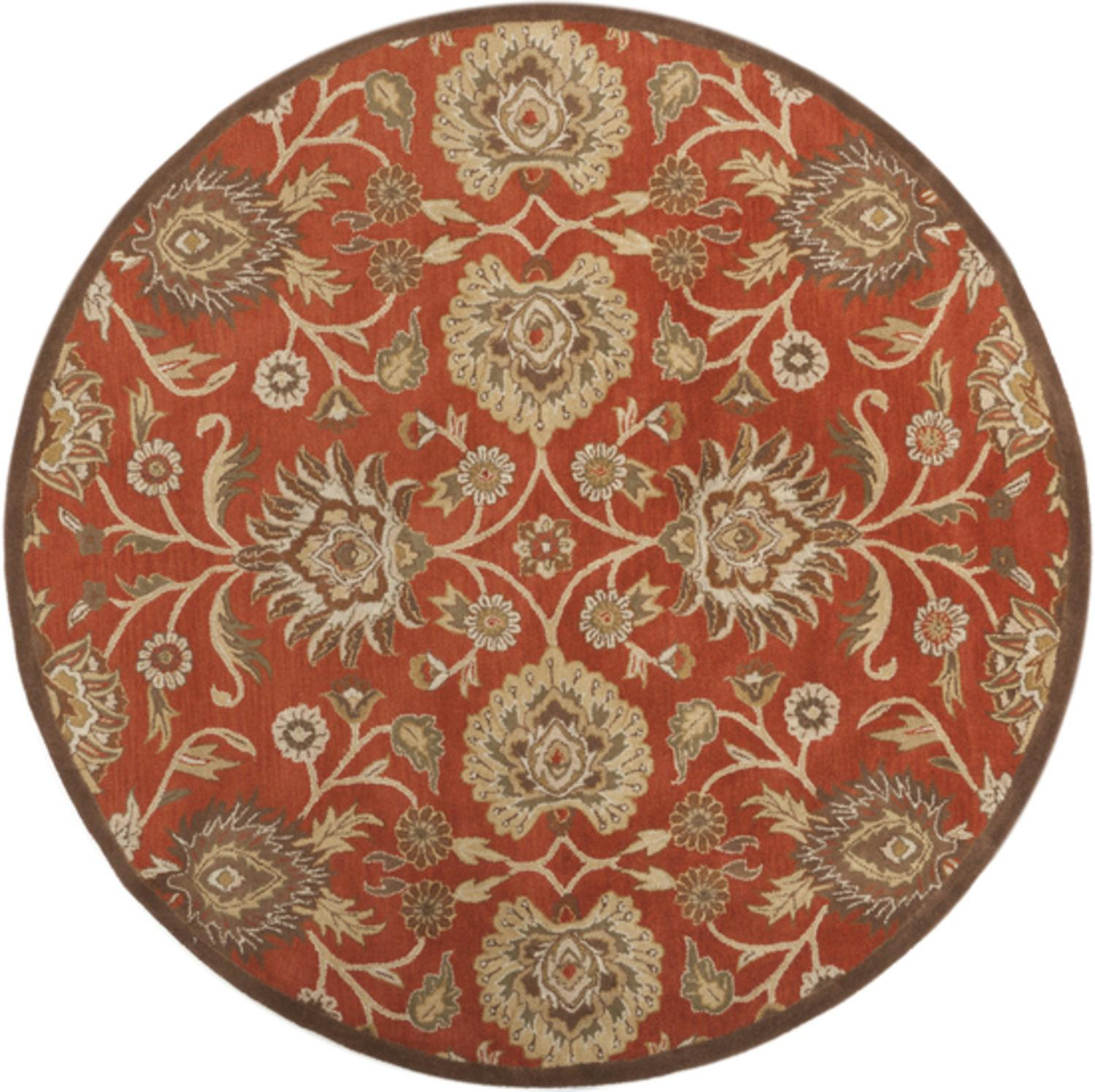 8' Octavia Spicy Brown and Camel Hand Tufted Wool Round Area Throw Rug