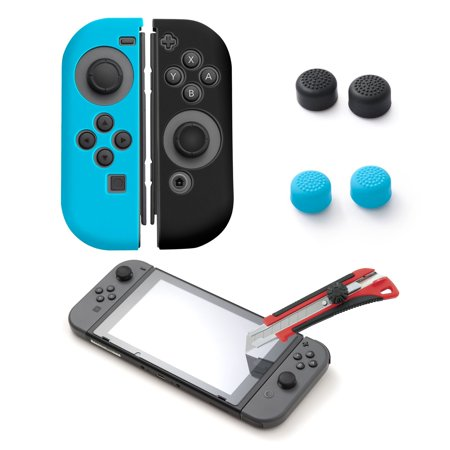 insten Silicone Joy Con Skin Case [Left BLUE/Right BLACK] + Tempered Glass Screen Protector + Style 1 4-pc Analog Caps for Nintendo Switch