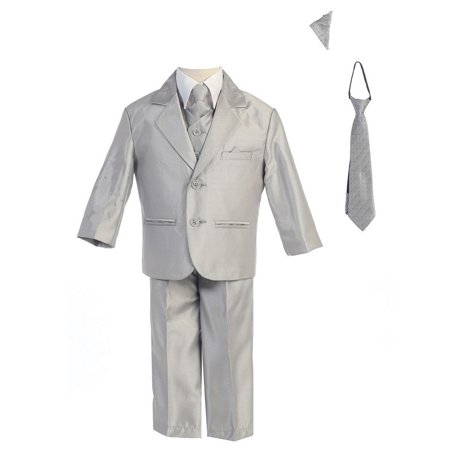Little Boys Silver Two-button Metallic Special Occasion Suit