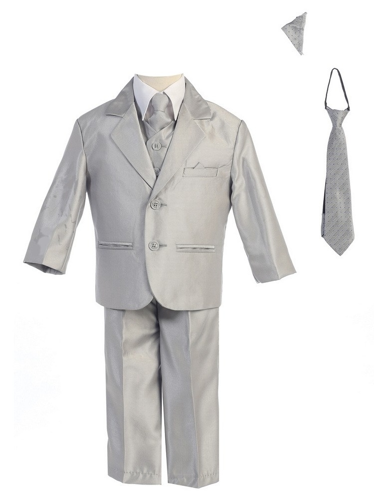 Little Boys Silver Two-button Metallic Special Occasion Suit 6