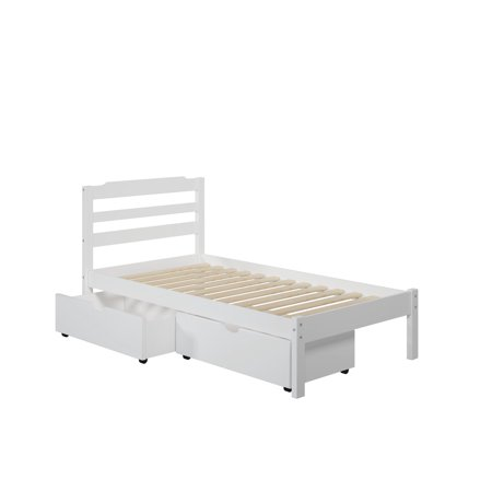 hayden twin storage bed with 2 drawers in white. Black Bedroom Furniture Sets. Home Design Ideas
