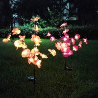 EpicGadget (2 Pack) Solar Orchid Flower Light, Outdoor Solar Flower Garden Decorative Stake Lights for Walkway Pathway Backyard Garden Christmas Decoration Parties (Warm White)