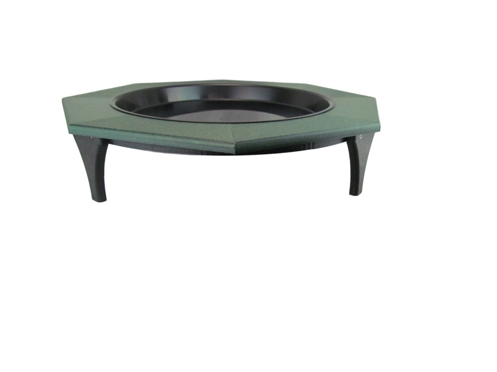 JCs Wildlife Ground Garden Green Poly Lumber Low Profile Birdbath 16 inch by JCs Wildlife