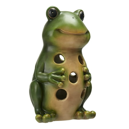 Garden Zone Green (Mainstays Solar Powered Happy Green Frog Garden Statue )