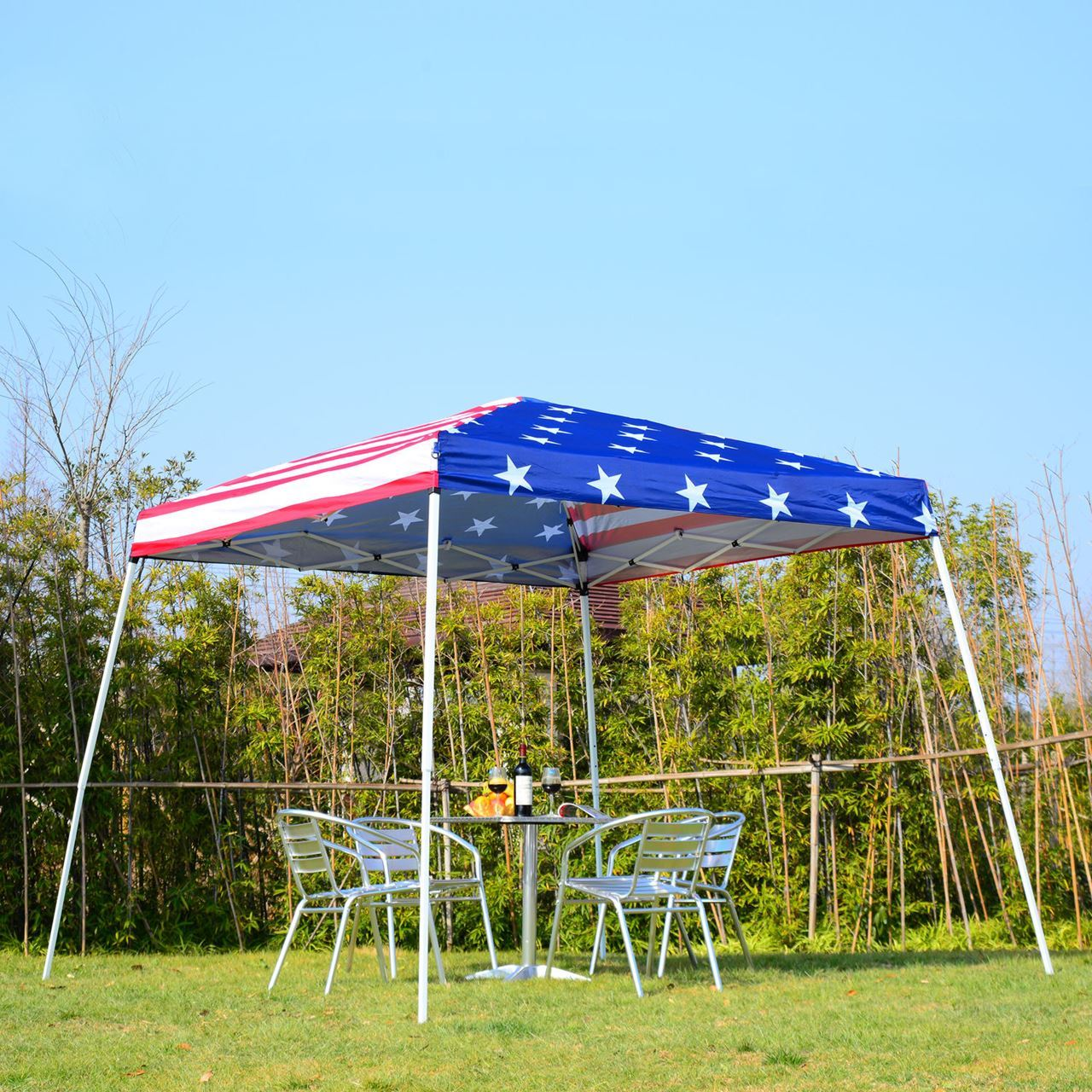 Outdoor 10' x 10' Slant Leg Pop-Up Canopy Tent – American Flag
