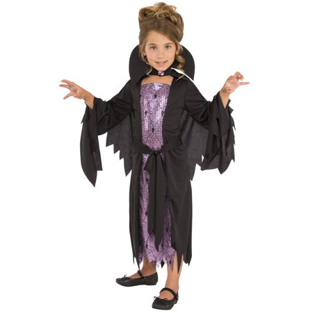 Little Vampire Girl Child Sparkly Spooky Halloween Costume - Little Girl Vampire Halloween Makeup