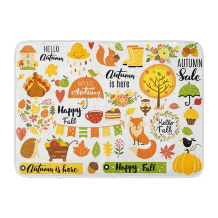 GODPOK Harvest Autumn Calligraphy Fall Leaves Forest Animals Wreaths and Other Perfect for Tag Sticker Kit Rug Doormat Bath Mat 23.6x15.7 inch