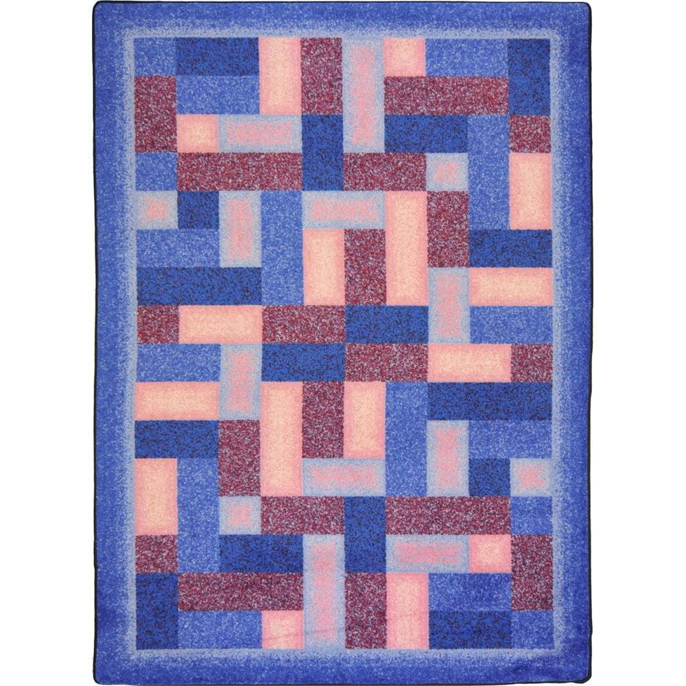 "Joy Carpets Kid Essentials - Teen Area Rugs Off Beat, 7'8"" x 10'9"", Purple"