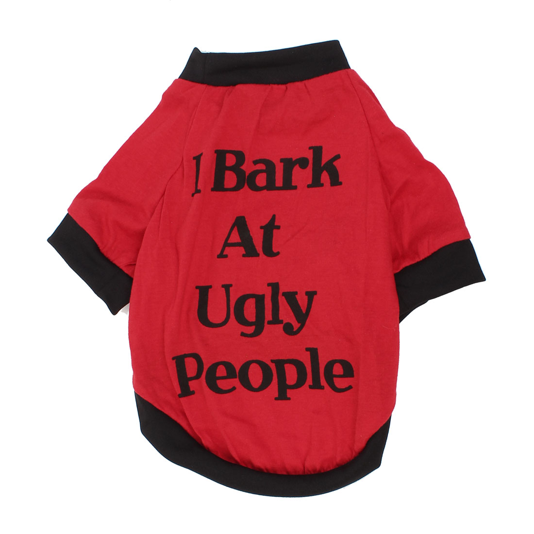 Unique Bargains Black Red Letter Printed Sleeves Pet Dog Puppy Tee Shirt Clothes Costume S