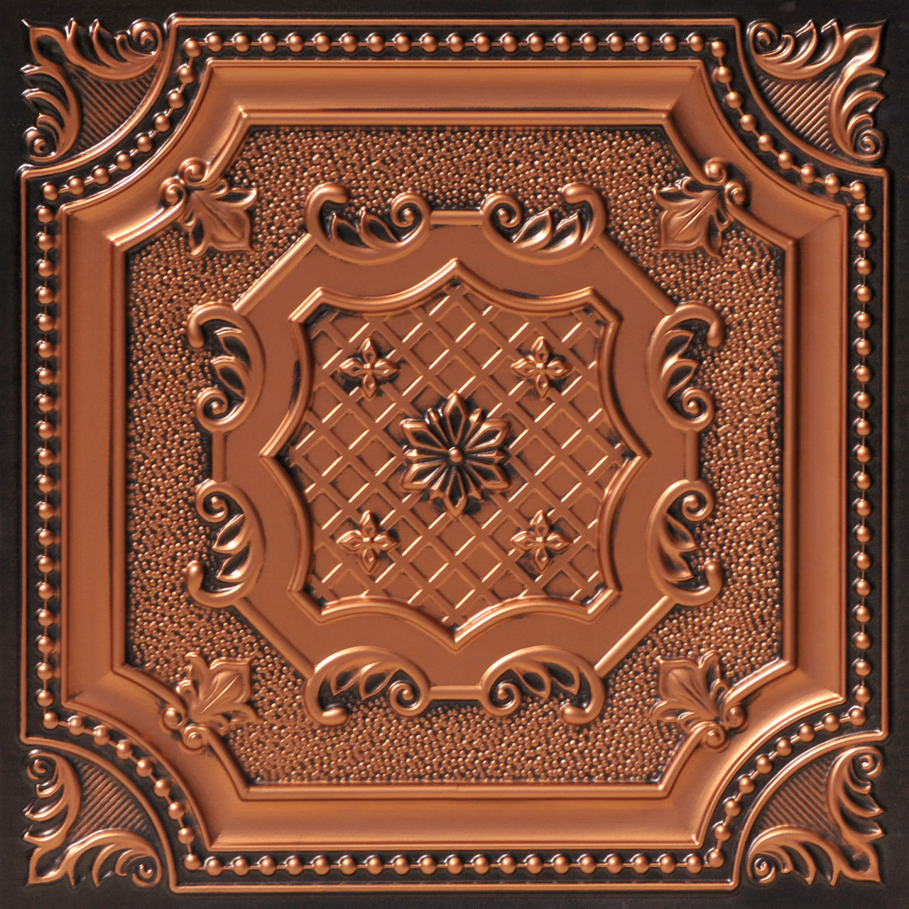 My Beautiful Damaris 2 ft. x 2 ft. PVC Glue-up or Lay in Ceiling Tile in Antique Copper