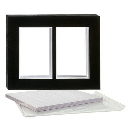 U.S. Art Supply 11X14 Black Multi-Window Photo Mat Board Set - Mats, Backboard & Clear Bags - 10 - Photo Supplies