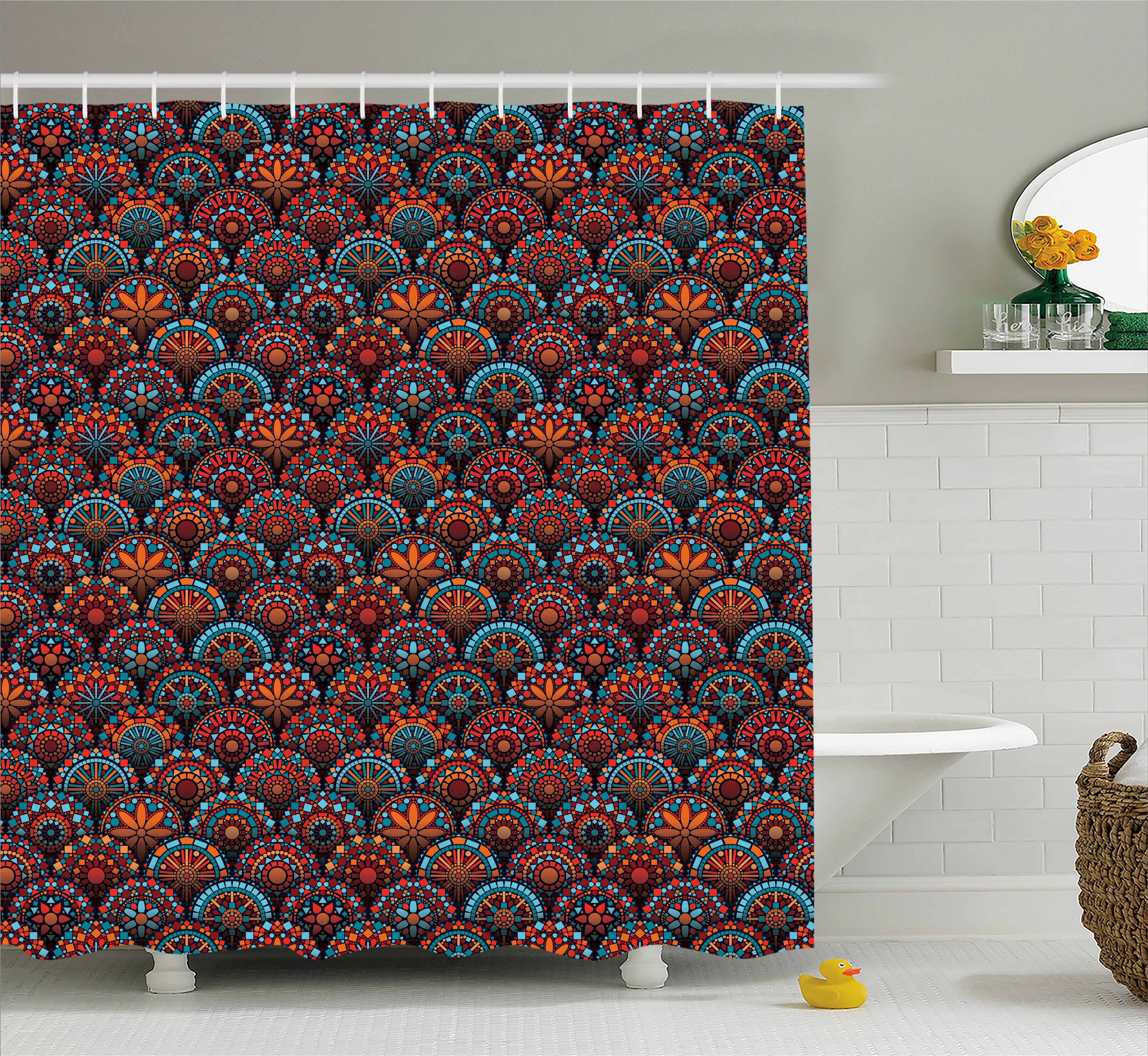 Moroccan Shower Curtain, Circles Pattern Mandala Inspired Floral Arrangements Geometric Rectangles, Fabric Bathroom Set with Hooks, 69W X 75L Inches Long, Aqua Orange Ruby, by Ambesonne